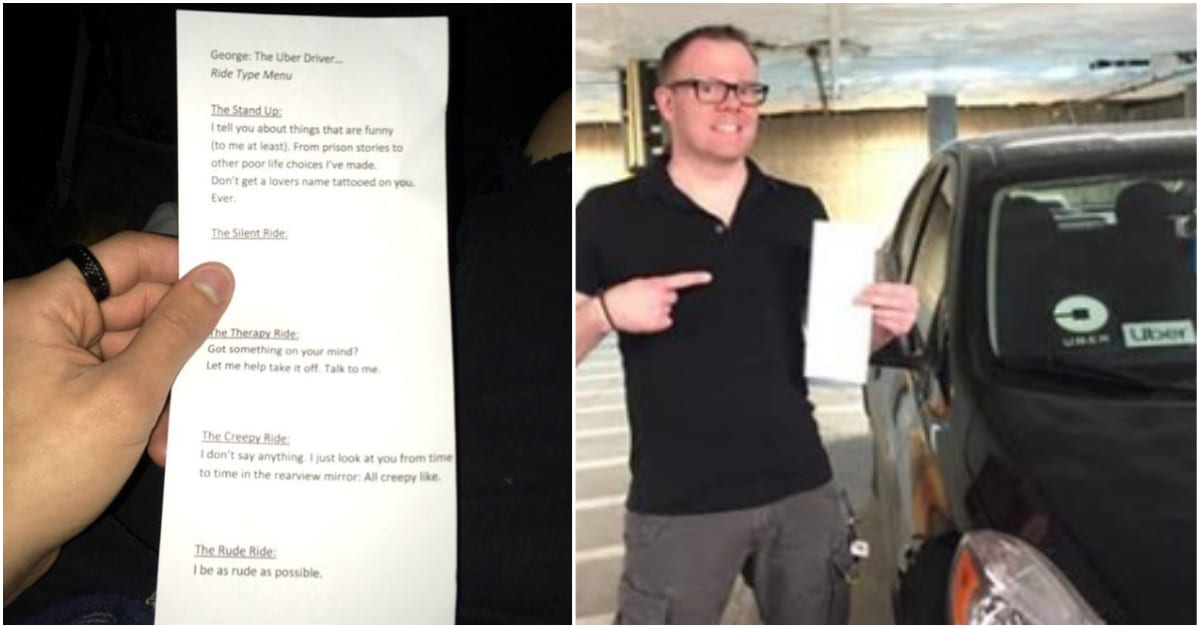 Uber Driver Creates Hilarious Menu To Allow Customers To Choose Their Ride Experience